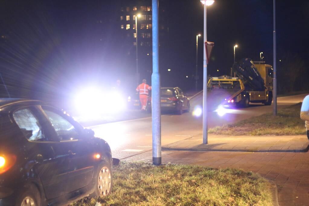 Schade bij ongeval op rotonde
