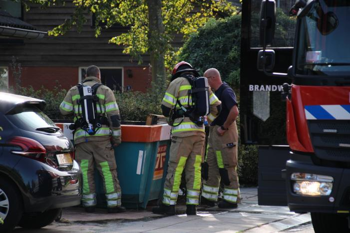 Brand in puincontainer snel gedoofd