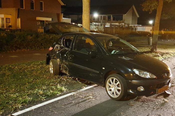 Auto raakt van de weg en raakt boom