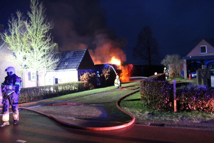 Schuur uitgebrand in tuin
