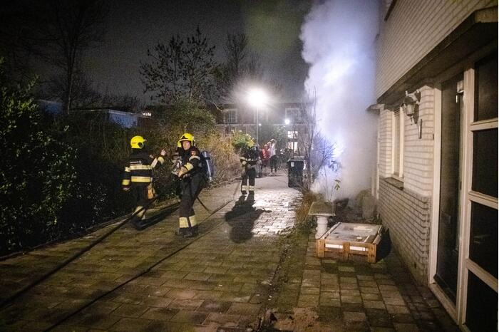 Scooter in brand gestoken