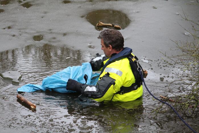 Dode reiger door brandweer uit het Rehorstpark gehaald