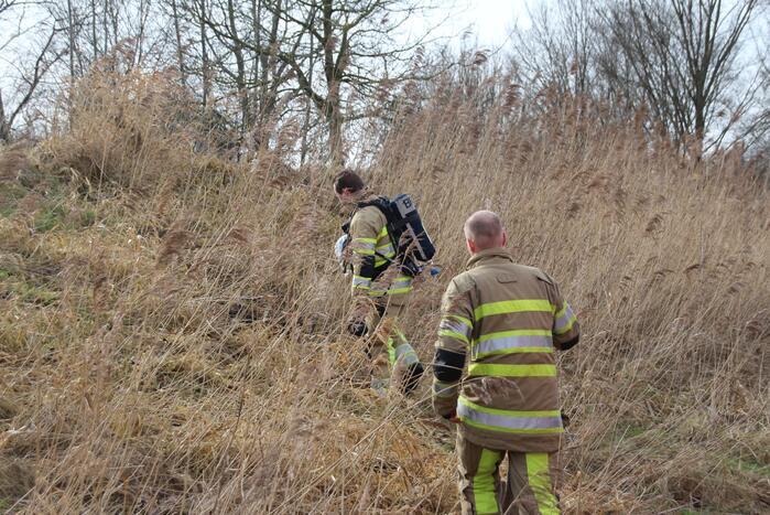 Brandweer blust kleine brand in bosschage
