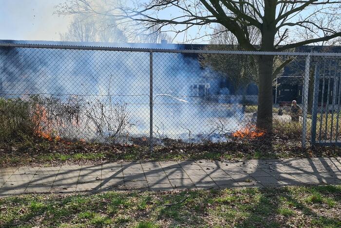 Brand ontstaan in berm