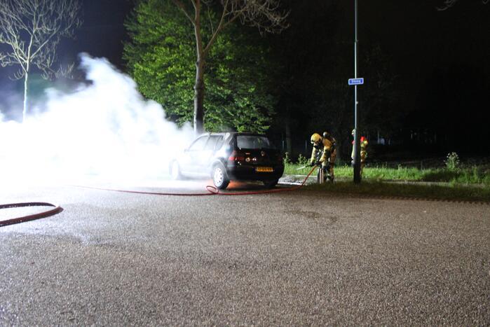Auto verwoest door brand na botsing tegen boom
