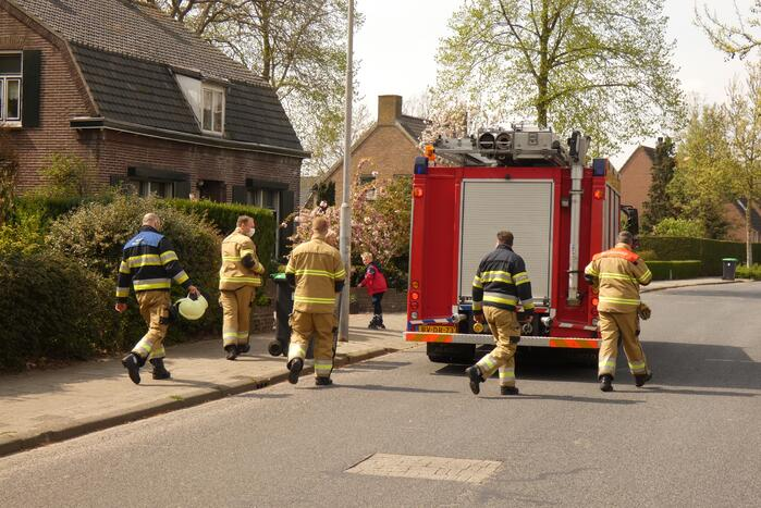 Bewoners blussen coniferenbrand met emmers en tuinslang