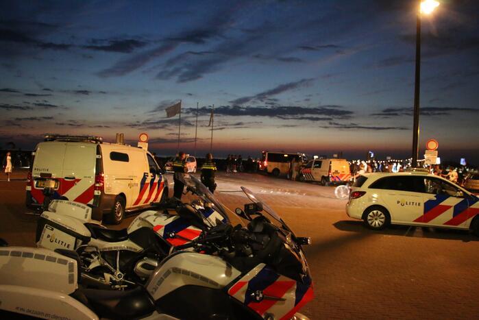 Grote politie inzet op het strand