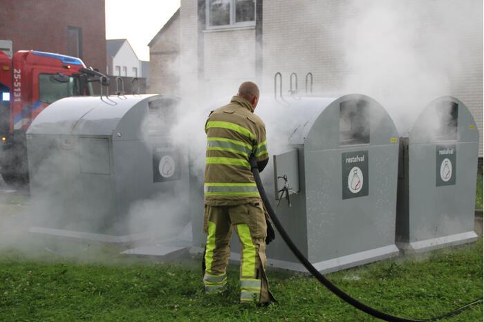 Veel rookontwikkeling door brand in container