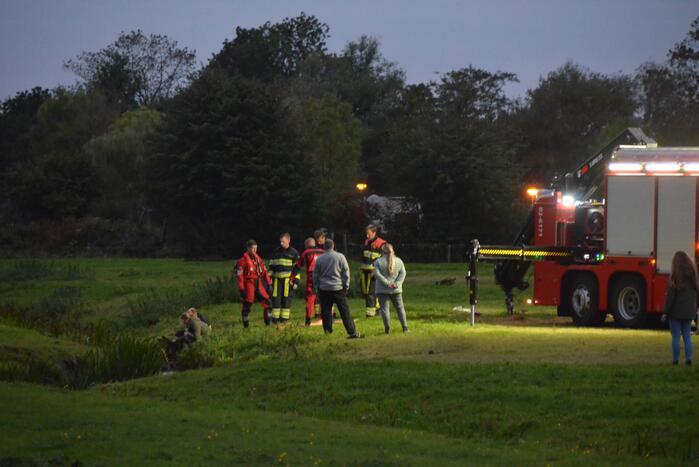 Brandweer takelt paard uit sloot