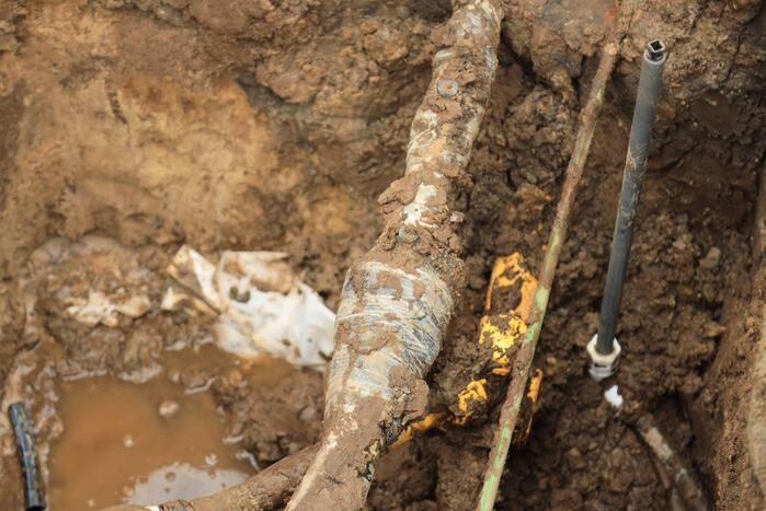Gasleiding geraakt bij werkzaamheden