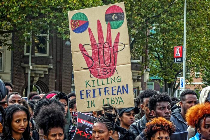 Eritreeërs demonstreren tegen Libië